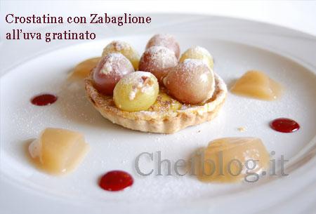 Crostatine con Zabaglione all'uva gratinato