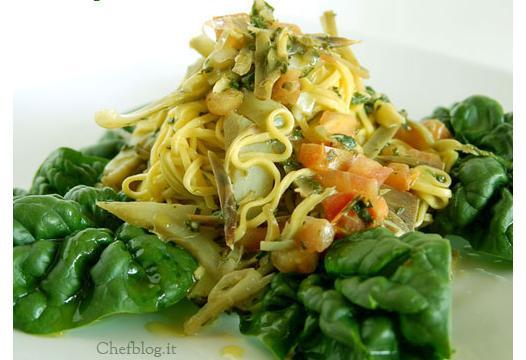 Tagliolini ai carciofi e spinaci