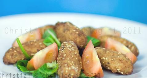 Quenelles fritte di melanzane, pane e olive